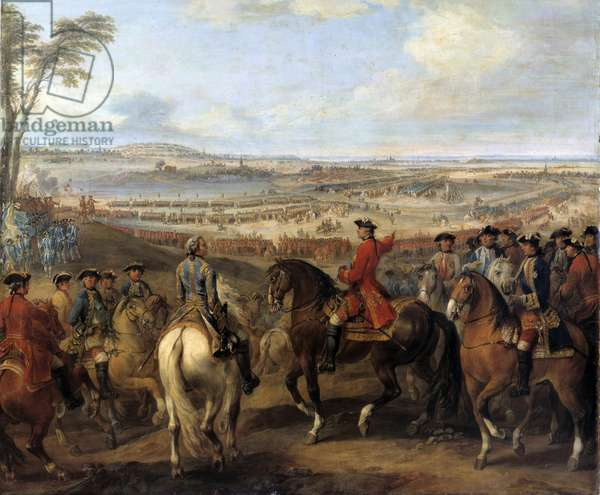"""War of the Succession of Austria (1740-1748): """""""" Battle of Lawfeld, July 2, 1747"""""""": King Louis XV indicating by hand the village of Lawfeld to the marechal of Saxony. Painting by Pierre Lenfant (1704-1787), 18th century Sun. 2,75x2,5 m Musee National du chateau de Versailles - War of the Austrian Succession (1740-1748): Battle of Lawfeld, July 2, 1747. King Louis XV pointing out the village of Lawfeld to the Marshal of Saxony. Painting by Pierre Lenfant (1704-1787), 18th century. 2.75 x 2.5 m. National Museum of the Castle, Versailles, France"""