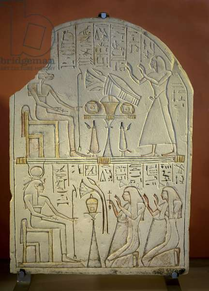 Art Egypt Stele de Penboui a Toueris and Isis Hathor (painted limestone, new empire, 1552 - 1069 BC)