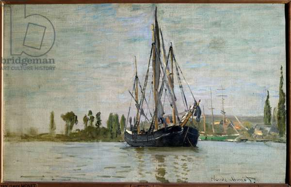 Chasse maree (Chasse-Maree) at anchor near Rouen, Painting by Claude Monet (1840-1926) 1871 Sun. 0,48x0,75 m Paris, musee d'Orsay - French chase-maree at anchor (near Rouen). Painting by Claude Monet (1840-1926), 1871. 0.48 x 0.75 m. Orsay Museum, Paris