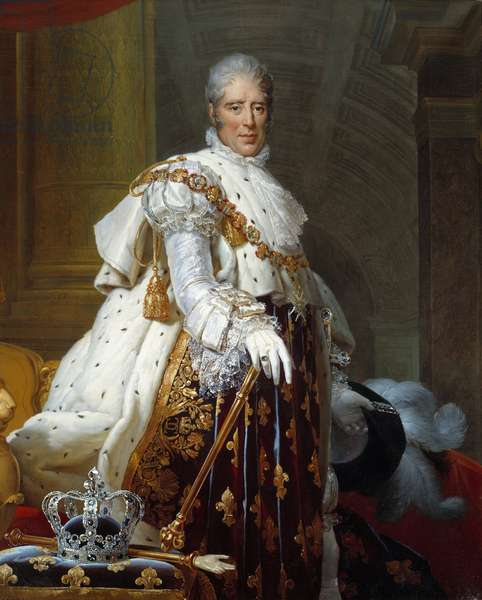 Portrait of Charles X (1757 - 1836) in sacred costume. Painting by Francois Gerard (1770-1837), 19th century. h s/t. Sun: 1,62 x 1,3m. Paris, Musee Carnavalet