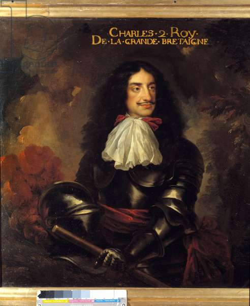 Portrait of Charles II (1630-1685) King of England Painting of the French School of the 17th century. Dim 1,11 x 1,25 m