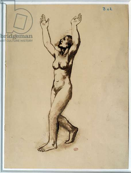 Naked woman begging for heaven. Drawing by Pablo Picasso (1881-1973), 1902. Feather, brown ink, wash and scratch. Dim: 0.31 x 0.23m. Paris, Musee Picasso.