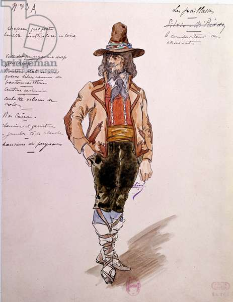 """Costume of the coachman for the opera """""""" Paillasse"""""""" (pagliacci, clowns) by Ruggero Leoncavallo (1857-1919) of 1892. Watercolour by Charles Bianchini (1860-1905), 1902. Paris, Library of the Opera Museum"""