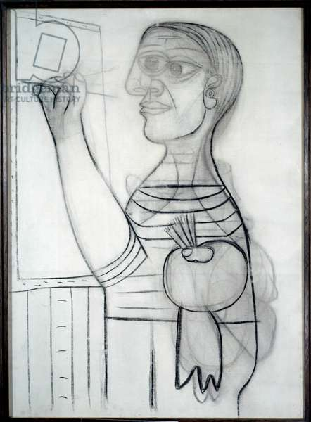 The artist in front of his canvas Charcoal drawing by Pablo Picasso (1881-1973) 1938 Dim. 1,3x0,94 m. Paris, Musee Picasso