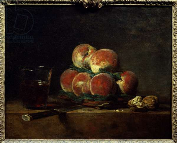 Basket of peches with nuts, knife and glass of wine Painting by Jean Baptiste Simeon Chardin (1699-1779) 1768 Dim. 0,32x0,39 m Paris, Musee du Louvre