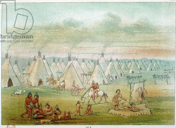 Indians of America: village commanche the tents are made of bison skins. Illustration by George Catlin (1794-1872), 19th century. Paris, B N