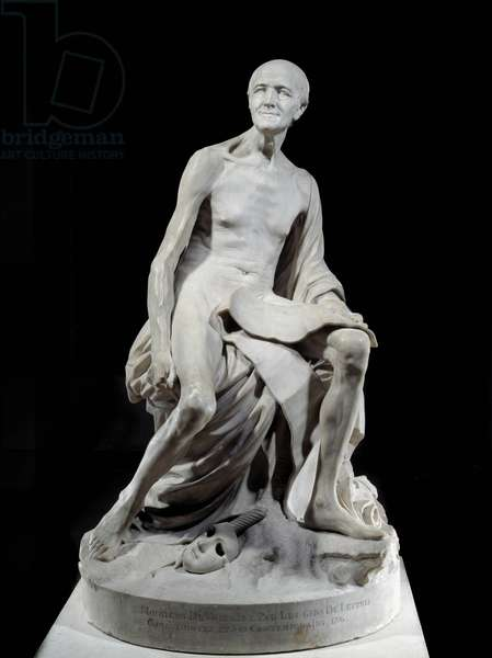 Francois-Marie Arouet dit Voltaire nu (1694-1778) Marble sculpture by Jean-Baptiste Pigalle (1714-1785) 1776 Sun. 1,5 m Paris, Musee du Louvre
