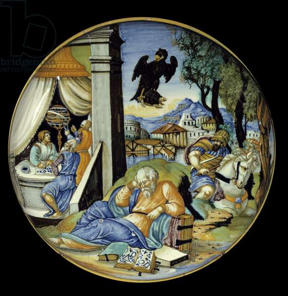 Low leg cut: Allegory of destiny. Faience. Made by Francesco Avelli Xanto (active around 1530/1540), 1540. Urbino. Paris, Musee Du Louvre