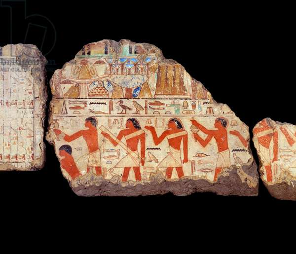 Ancient Egypt Art: Paintings of the mastaba of Metchetchi: ritualist priests mural painting, 6th dynasty (ca. 2350-2200).