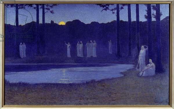 """Symbolism: """""""" Chants de nuit"""""""" Painting by Alphonse Osbert (1857-1939) 1896 Sun. 0,77x1,24 m Paris, musee d'Orsay"""