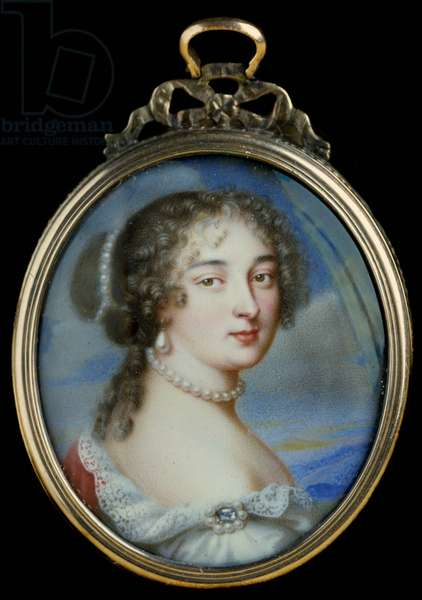 Portrait of Francoise d'Aubigne, Marquise (Madame) de Maintenon (1635-1719), favorite of Louis XIV Painting by Jean Petitot le Vieux (1607-1691) 17th century. Sun 0,03x0,03 m Paris, musee du Louvre