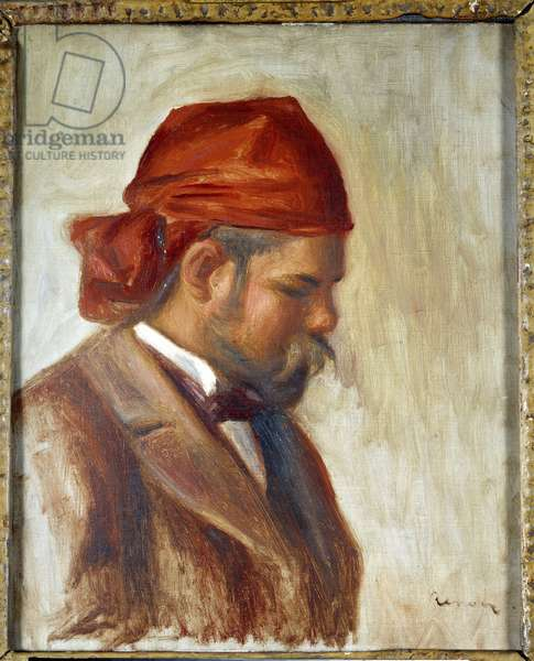 Ambroise Vollard (1868-1939) with a red scarf, merchant of paintings, by Pierre Auguste Renoir (1841-1919), circa 1899, (oil on canvas)