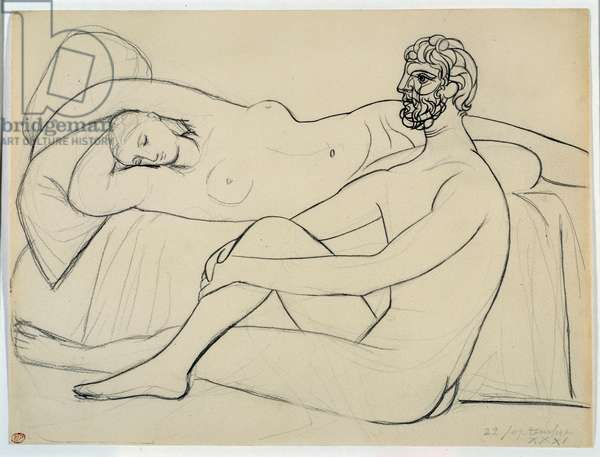 Sleeping woman and sitting man. Drawing by Pablo Picasso (1881-1973), 1931. Lead mine. Dim: 0,26 x 0,35m. Paris, Musee Picasso.