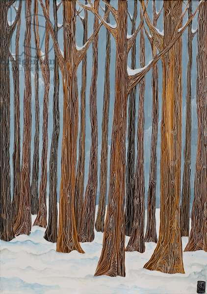 January Trees in Monks Wood, 2012 (acrylic on canvas)