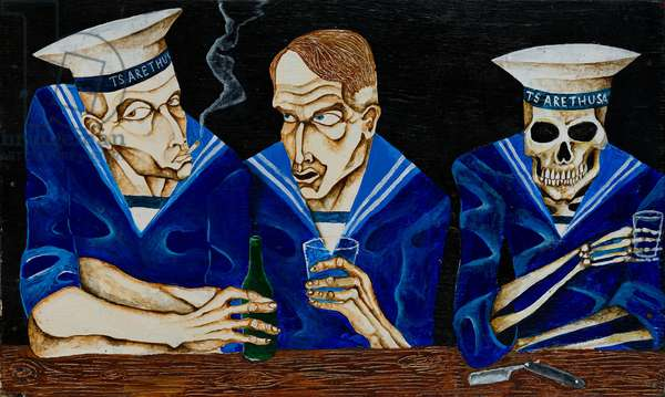 Two Sailors and Death Drinking at Bar, 2008 (acrylic on plywood)