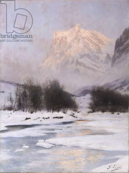 The Wetterhorn in winter seen from Grindelwald (oil on canvas)