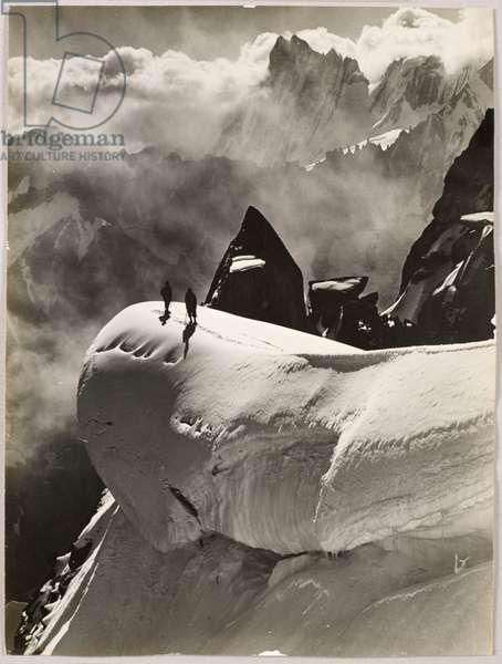 Climbers traversing from the Aiguille du Plan to Aiguille du Midi, Chamonix, 1932 (silver gelatin print)