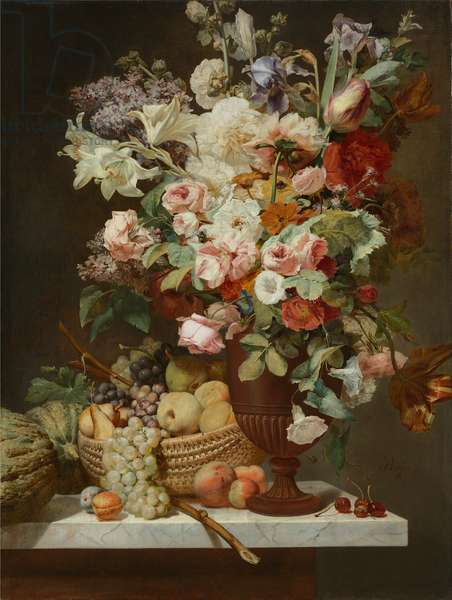A still life of flowers including lilac, roses, tulips and lilies in an urn with a basket of fruit and a melon upon a marble ledge (oil on unlined canvas)