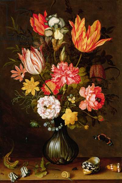 Still life of flowers with insects (oil on panel)