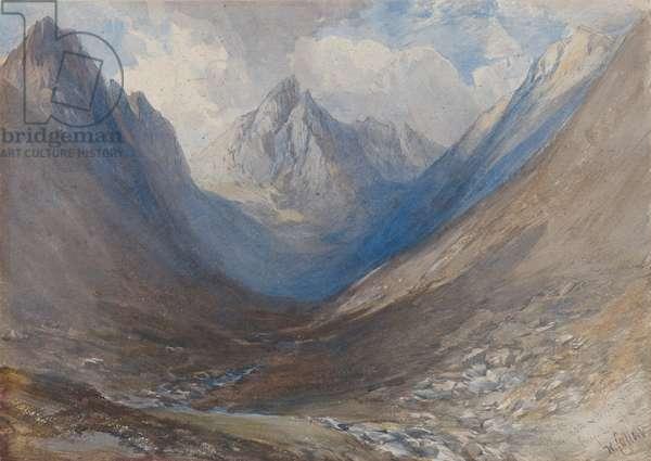 Cir Mhor seen from Glen Rosa, Arran, 1849 (w/c over pencil)