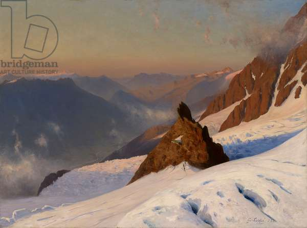 Climbers descending from Mont Blanc to the Grands Mulets Hut, Chamonix, France, 1880 (oil on unlined canvas)