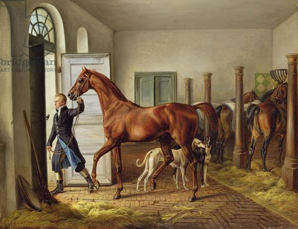 Groom leading a horse from the stable, 1827 (oil on canvas)