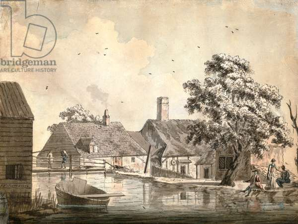 A View of The Paper Mill at Bonend, Buckinghamshire, 1776 (pen & ink & w/c on paper)
