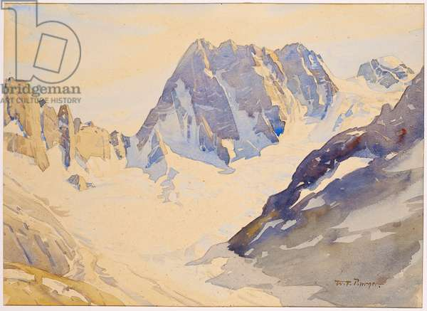The Grandes Jorasses seen from the Couvercle Hut, Chamonix, France, 1933 (w/c on paper)