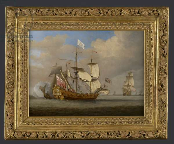 The sixth-rate ship 'Saudadoes' in a light breeze, with a royal yacht behind firing a salute (oil on canvas)