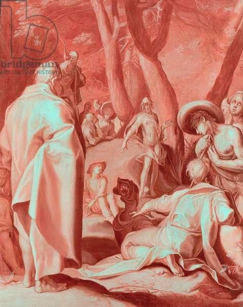 St. John the Baptist preaching, c.1593-95 (oil en rosaille on oak panel)