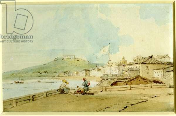 The Praya Grande, Macao, 1832 (pen & w/c on paper)