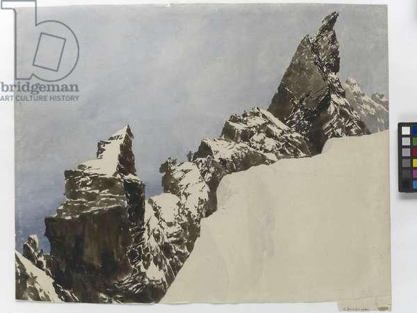 Climbers on the Aiguille Noire de Peuterey, Chamonix (w/c on paper)