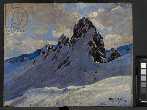 The Jahnturm above St. Anton, Tyrol (oil on card)