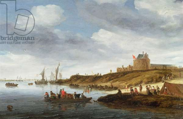 A river landscape with figures ferrying cattle across the Maas with Gennep beyond, 1665 (oil on canvas)