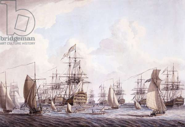 The Review of the Fleet, June 1773: His Majesty saluted by the Fleet at his arrival on board Barfleur at Spithead, 1777 (pencil, pen & ink & w/c on paper)