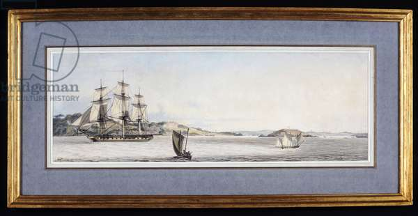 A Frigate leaving Plymouth Sound, with other Vessels nearby, 1801 (pen & ink & w/c on paper)