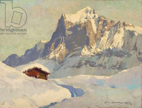 The Wetterhorn in winter seen from near First, Grindelwald, Switzerland (oil on board)