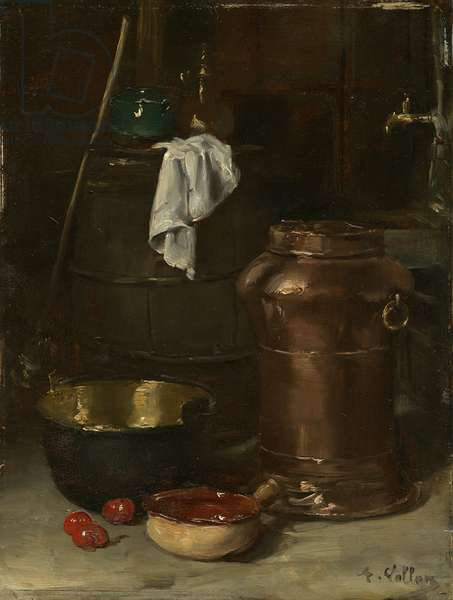 Still life with copper pot (oil on panel)