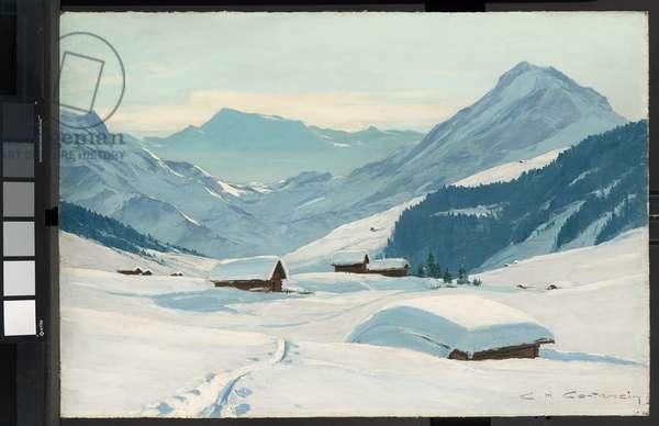 Winter above Adelboden, Bernese Oberland (oil on panel)