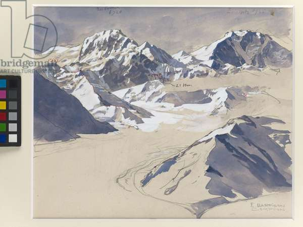 Studies of an unidentified mountain range (w/c on card)