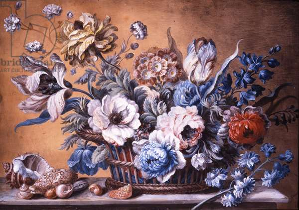 Flowers in Wicker Baskets with Shells - a pair (pencil & bodycolour on paper)