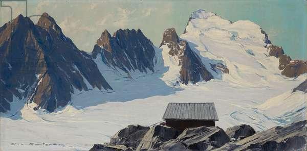 The Refuge Caron (or Ecrins) above the Glacier Blanc, Dauphiné Alps, France (oil on panel)