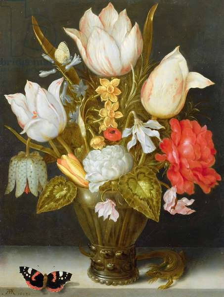 Still life with flowers, 1607 (oil on copper)