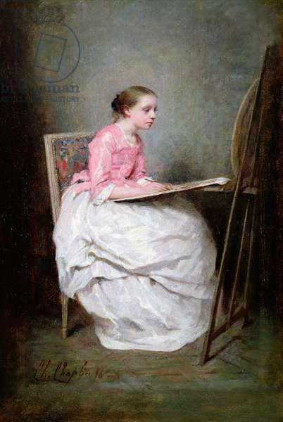 A girl drawing, 1856 (oil on canvas)