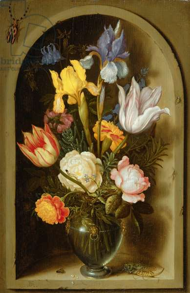 Still life with flowers and insects (oil on panel)