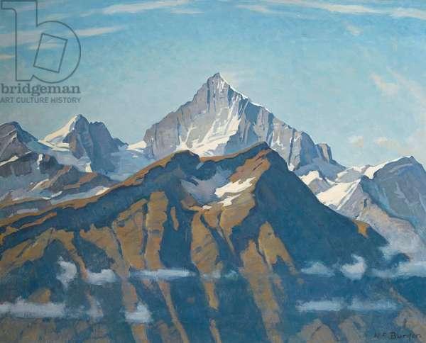 The Weisshorn from Gornergrat above Zermatt (oil on canvas)