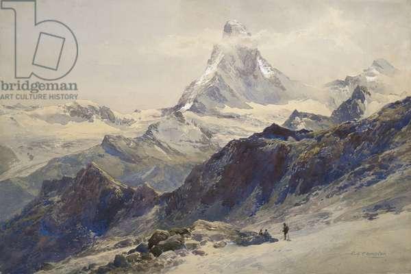 The Matterhorn seen from near the Rothorn Hut (w/c on paper)