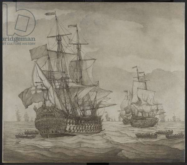 An English two-decker lying-to at sea in a moderate breeze, with boats pulling towards her (brush, pen & ink, & wash 'en grisaille' on canvas)