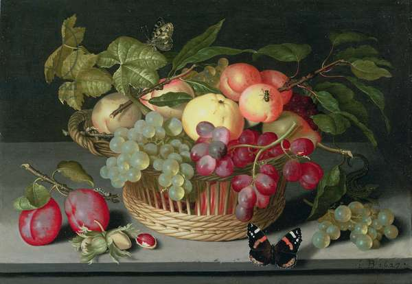 Still life with a basket of fruit, 1627 (oil on panel)
