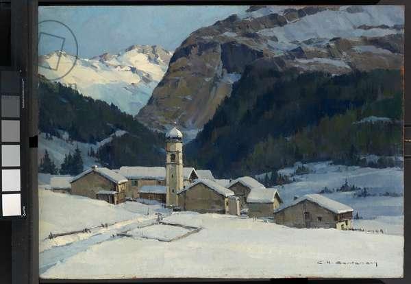 Tignes - les Brevieres, Savoie (oil on panel)